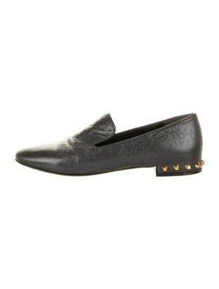 Balenciaga Leather Studded Accents Loafers Grey