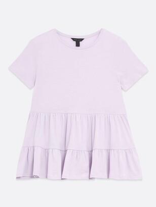 New Look Cotton Double Peplum T-Shirt - Purple