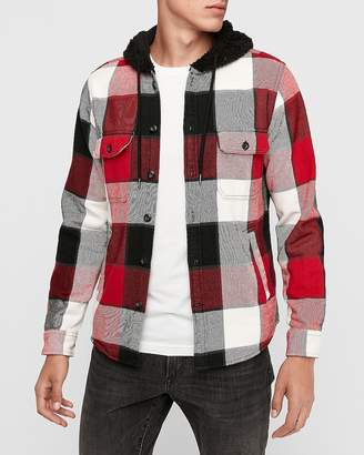 Express Plaid Sherpa Hooded Shirt