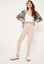 Missguided Pink Stretch Ribbed Pocket Detail Leggings Pink