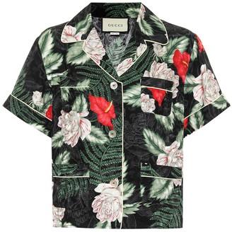 Gucci Hawaiian-print silk-jacquard shirt