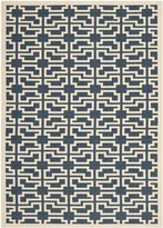 Safavieh Courtyard Collection CY6015-268 Navy and Beige Indoor/Outdoor Area Rug, 5 Feet 3-Inch by 7 Feet 7-Inch