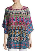 Tolani Narissa 3/4-Sleeve Printed Tunic, Fuchsia/Navy
