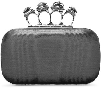 Alexander McQueen Four Ring metallic moire satin clutch