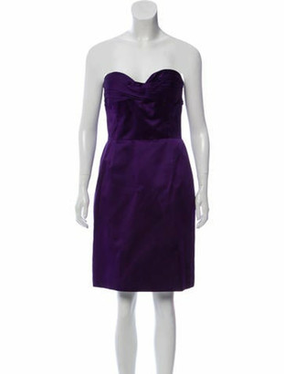 Oscar de la Renta Strapless Silk Dress Purple