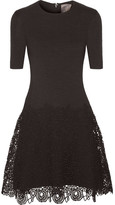 Lela Rose Matelassé Stretch-cotton And Lace Dress - Black