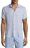 Orlebar Brown Meden Tailored-Fit Short-Sleeve Linen Shirt, Navy