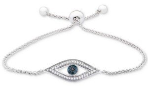 Wrapped Diamond Evil-Eye Bolo Bracelet (1/6 ct. t.w.) in Sterling Silver, Created for Macy's
