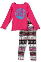 Beary Basics Turquoise Deer Long-Sleeve Tee & Leggings - Toddler & Girls