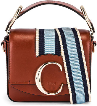 Chloé Mini C Webbing Stripe Box Bag in Sepia Brown | FWRD