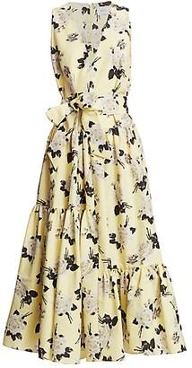 Erdem Mimosa Rosemont Wallpaper Sleeveless Belted Dress