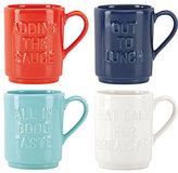 Kate Spade Pretty pantry words set of 4 mugs
