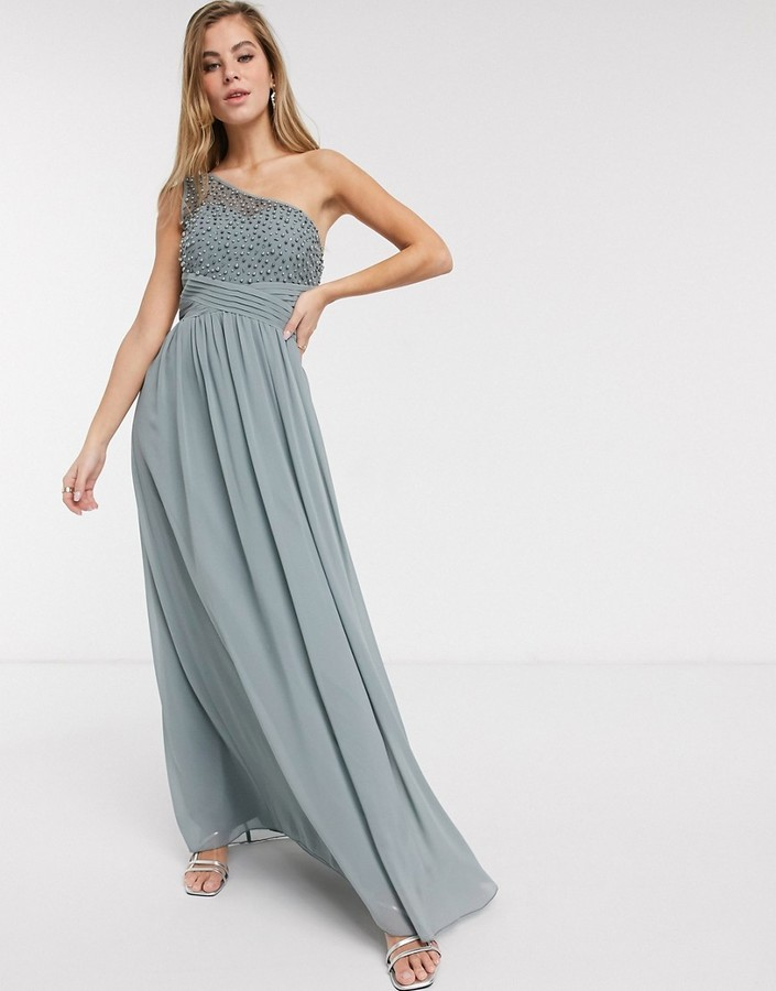 Little Mistress one shoulder maxi dress with embellishment in grey