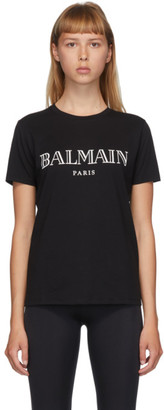 Balmain Black and White Logo T-Shirt