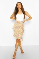 boohoo Floral Ruched Ruffle Mini Skirt