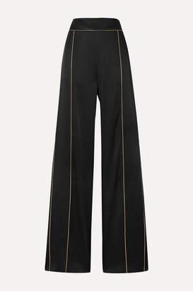 Peter Pilotto Metallic-trimmed Satin Wide-leg Pants - Black