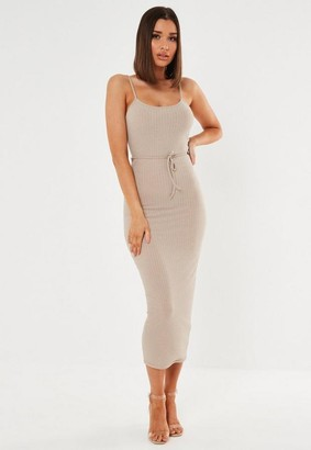 Missguided Petite Beige Ribbed Tie Belted Cami Midaxi Dress