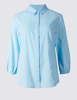 Classic Pure Cotton Hidden Placket 3/4 Sleeve Shirt