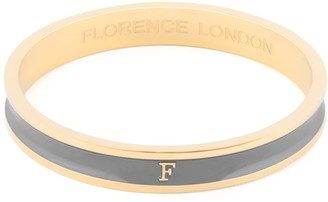 Florence London Initial F Bangle 18Ct Gold Plated With Grey Enamel