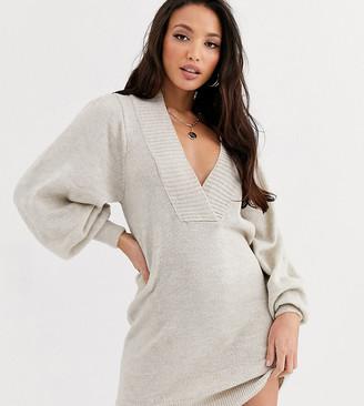 Asos Tall DESIGN Tall deep v neck jumper dress with volume sleeve-Stone