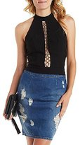 Charlotte Russe Caged Lace-Up Halter Top