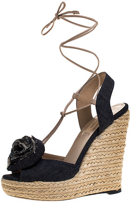 Valentino Blue Denim Fabric Flower Detail Wedge Platform Espadrille Sandals Size 37