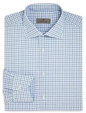Canali Bold Shadow Check Regular Fit Dress Shirt