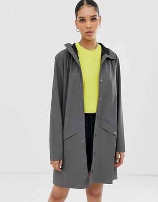 Rains long waterproof jacket-Grey