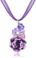Dolci Gioie Purple Rose Pendant w/Lace