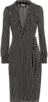 Reformation Salem Striped Crepe Wrap Dress