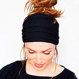 Bestpriceam Newest Women Yoga Elastic Bow Hairband Turban Knotted Rabbit Hair Band Headband (Black)