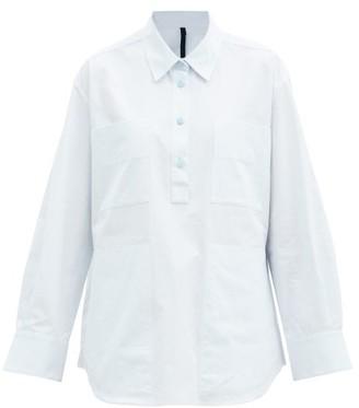 Sara Lanzi Patch-pocket Cotton-poplin Shirt - Light Blue