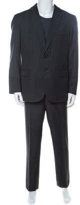 Brioni Grey Wool Striped NM Colosse Suit XXL