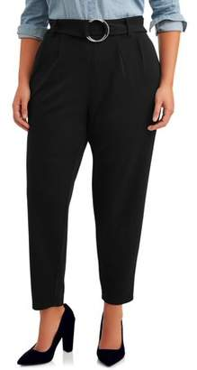 No Comment Juniors' Plus Size Belted O-Ring Pant