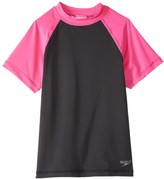 Speedo Girls' Colorblock UPF 50+ Short Sleeve Rashguard (7yrs16yrs) - 8137128