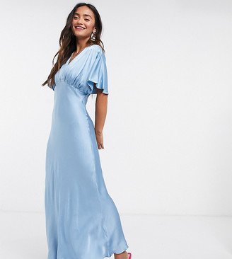 Ghost Bluebell satin dress in blue