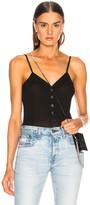Fleur Du Mal Ribbed Knit Snap Front Bodysuit in Black | FWRD
