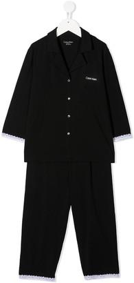 Calvin Klein Kids Scalloped Lace Cuff Pyjama Set
