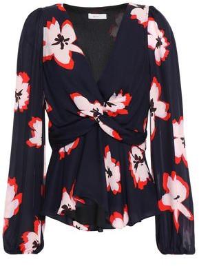 A.L.C. Twist-front Floral-print Silk-crepe Blouse