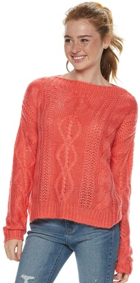 So Juniors' Boat Neck Front Cable Detailed Pullover Sweater