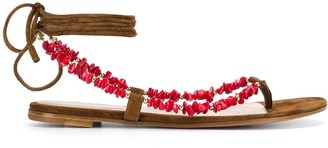 Gianvito Rossi Embellished Ankle-Tie Sandals