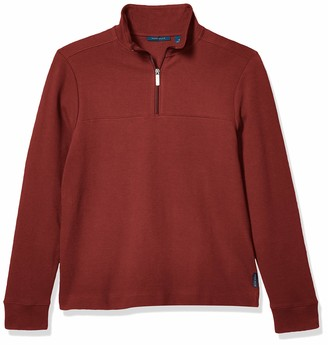 Perry Ellis Men's Ottoman Rib Knit Quarter-Zip Long Sleeve Shirt