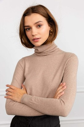 J.ING Denonia Tan Turtleneck Top