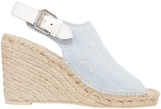 Stella McCartney Embroidered Denim Wedge Espadrille Sandals