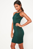 Missguided Teal Ribbed 90's Neck Bodycon Dress