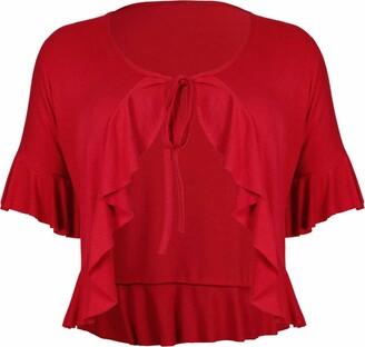Purple Hanger New Ladies Plus Size Tie Frill Ruffle Shrug Tops Womens Bolero Cropped Stretch Cardigan Top Mocha Light Brown Size 14