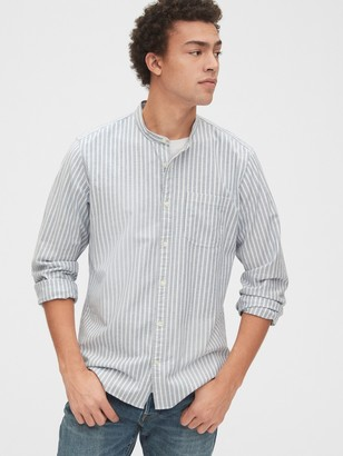 Gap Lived-In Stretch Band-Collar Shirt in Standard Fit