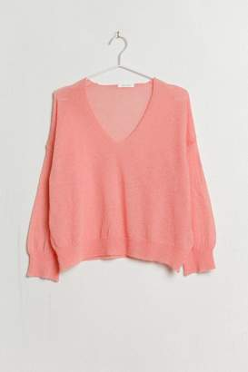 Ese O Ese ese O ese - Terry light knitted V-Neck sweater - alpaca wool | coral | S . - Coral