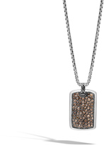 John Hardy Men's Classic Chain Large Dog Tag Necklace in Sterling Silver with Smoky Quartz