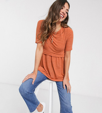 Mama Licious Mamalicious Maternity jersey top with nursing function in rust